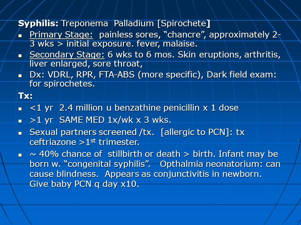 Syphilis: Treponema Palladium [Spirochete]